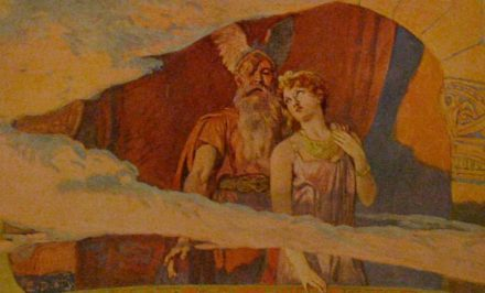 Wodan and Frea stand out and look out of a window in the heavens. Painting by Emil Döpler, 1905. Source: Wikimedia Commons