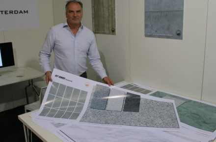 "<a href=""http://www.tvorotterdam.nl""target=""_blank"">TVO Rotterdam</a> company produces the data sets used to print the stone images on the ingot. After that, the tile is glazed and kilned."