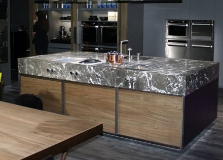 Stone plays an important role in hi-end kitchens (Rossana company, Italy, photo taken at the Salone del Mobile 2016 in Milan).