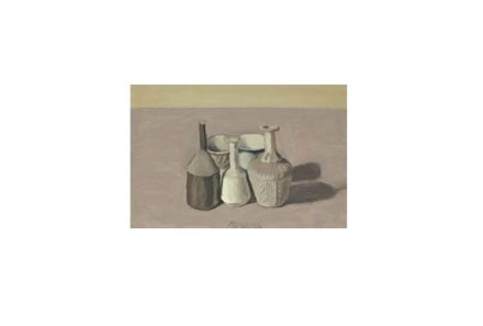 """Natura Morta"", oil on canvas painting by Giorgio Morandi, 1956, private collection. Source: Wikimedia Commons"