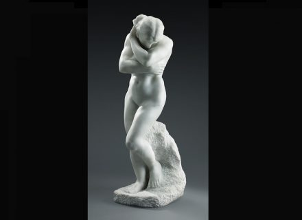 """Auguste Rodin: """"Eve"""", small version (for """"The Gates of Hell"""") 1883, marble, unknown practitioner, about 1895–1900, 76 × 24.5 × 31.5 cm. Art Gallery of Ontario, Toronto, gift of Mr. and Mrs. Frank P. Wood, 1928."""