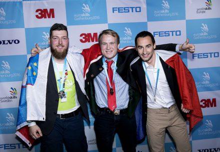 Thomas Rudlstorfer, Austria, Gold (center), Rok Verstovšek Tanšek, Slovenia, Silver (left), Julien Baton, France, Bronze (right).