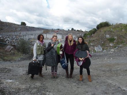Photo shooting for equestrian fashion in Ireland's McKeon Stone quarry. width=