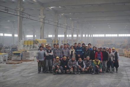 Inside the Su Marble Factory. Banu Bekişoğlu in the 2nd row with the white scarf.