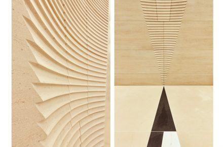 Im Eingangsbereich spielen die Architekten mit den Kegeln, lassen sie als flache Dreiecke auf dem Boden beginnen und führen sie an den Wänden in dreidimensionaler Rundung fort.