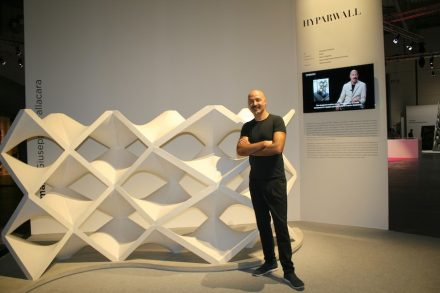 """Giuseppe Fallacara presented his """"Hyparwall"""" at Marmomacc 2016 in the special show """"New Marble Generation""""."""