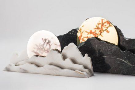 """Rolling Days"". Designer: Yang Kai-Mei; manufacturer: Chia-Tai Marble Co., Ltd. / Shinying Enterprise Co., Ltd.; material: Serpentinite, Taiwanese white marble, brass, stainless steel."