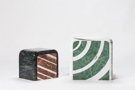 """A piece of marble"": The beautiful pattern of marble is fascinating. Oriental people see landscape and story from marble. After rearranging marble into geometric patterns and various colors, the implication of marble extends. The object reminds viewers of food imageries. The glossy surface is like the icing of a cake, and the sides demonstrate its rich layers. Depending on the viewers' state of mind, one may see different things from the same piece of work. So, what do you see? Designer: Hua Wu; manufacturer: Shinying Enterprise Co., Ltd. / Chia-Tai Marble Co., Ltd.; material: Serpentinite, Taiwanese white marble."