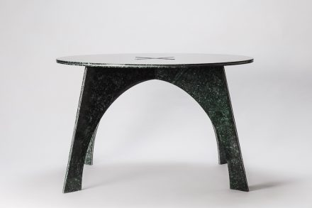 "Giotto: This idea was born when I was watching the marble slabs in stock. ""Why not use this material in a different way?"" I thought. So ""Giotto"", a round marble table made of one piece of Taiwanese marble slab, was born. To make the table lighter, ""Giotto"" applies a composite material - marble and aluminum sandwich - which is only of 1.6 cm in thickness yet stronger than the original material. No waste, simple for assembly and shipment. Designer: Moreno Ratti; manufacturer: Chia-Tai Marble Co., Ltd.; material: Serpentinite, Aluminium Year: 2016"