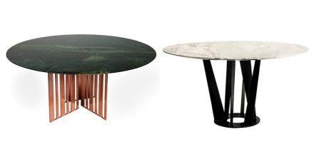 Die brasilianische Firma Sette 7 zeigte Tische mit Platten aus Greenpeace Quarzite (links) beziehungsweise Rafaello Marmor.
