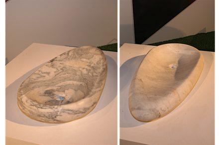 Der brasilianische Verband Abirochas hatte den Designer Ludson Zampirolli eingeladen, einige der heimischen Steinsorten in Alltagsprodukten zu präsentieren.
