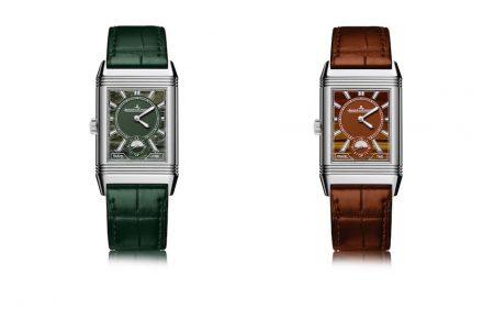 Jaeger-LeCoultre: Atelier Reverso_Military Marble dial (left), Atelier Reverso_Tiger's Eye dial (right).