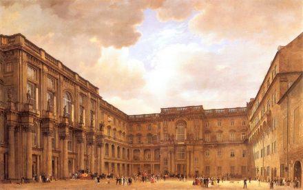 Der Schlüterhof des Berliner Schlosses, links die Kolossalfiguren an der Fassade. Gemälde von Eduard Gaertner, 1830. Quelle: Wikimedia Commons