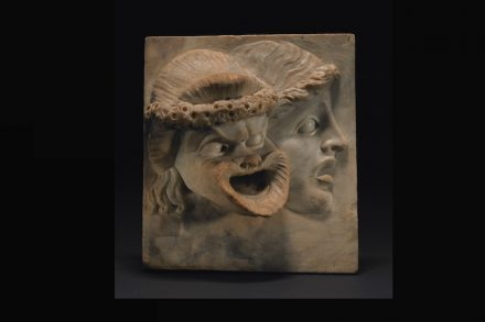 Comic or tragic masks, marble relief, 100-200 BC, Roman. © The Trustees of the British Museum