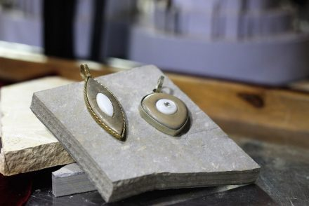 Jewelry design from students of Brazil's Universidade Federal do Cariri shown at the Fortaleza Stone Fair 2017.