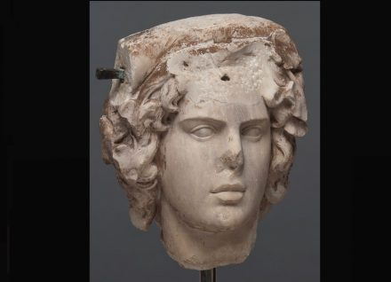 Head of Antinous as Dionysos, Roman, A.D. 130-138, Marble, h. 15 in. (38.1 cm), San Antonio Museum of Art, gift of Gilbert M. Denman, Jr. Photography by Peggy Tenison