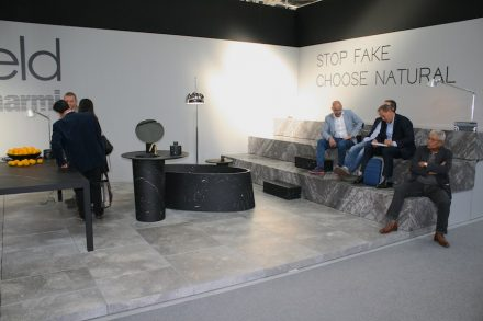 "Natural stone producer <a href=""http://www.pibamarmi.it""target=""_blank"">Pibamarmi</a> engaged in comparative confrontation with material-emulation under the motto ""Stop Fake - Choose Natural"". Designers' collection by Vittorio Longheu."