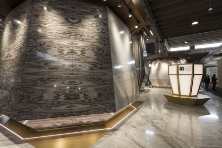 """Best Communicator Award, Design, Italy: First Prize to Tosco Marmi Palissandro """"for the formal result going far beyond the usual vision of the world of marble, with an open and organic exhibit expressing all the breadth of application for the products of this brand"""". Photo: Luca Morandini"""