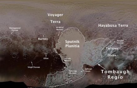 Pluto's first official surface-feature names are marked on this map, compiled from images and data gathered by Nasa's New Horizons spacecraft during its flight through the Pluto system in 2015. Source: NASA/JHUAPL/SwRI/Ross Beyer