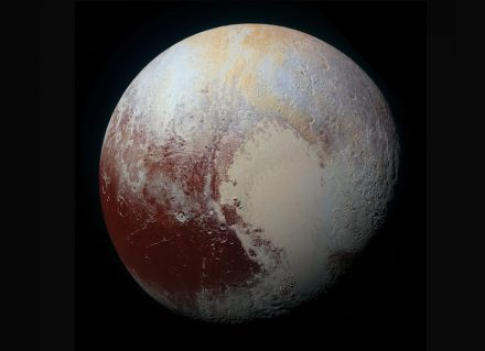 Color image of Pluto, photographed by the Nasa New Horizons spacecraft on 14 July 2015.