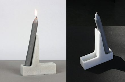 """Candle holder """"Atriu"""", which collects dripped wax on the back side, by Javier Boscá Alabort. Photos: Nou+U / Peter Becker"""
