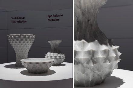 """Vase """"Cardo"""". Design: Raffello Galiotto; Company: Denver; Tools: Digma; Material: Bianco Carrara."""