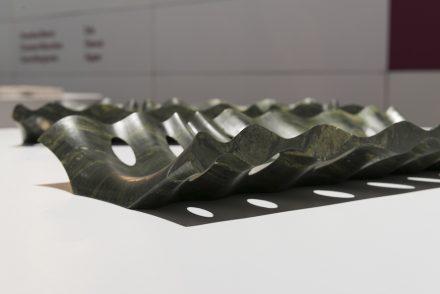 """Centrepiece """"Alveo"""". Design: Raffaello Galiotto; Company: Industrie Montanari; Software: Ddx; Tools: Adi; Material: Verde Picasso by Ca'D'Oro."""