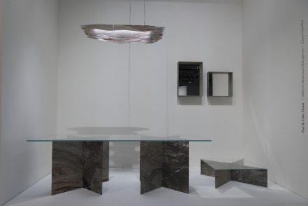 """""""Slim Stone""""; Design: Pio & Tito Toso; Companies: Marmi Remuzzi Bergamo + Cave Gamba; Material: Marmo Arabescato Orobico."""