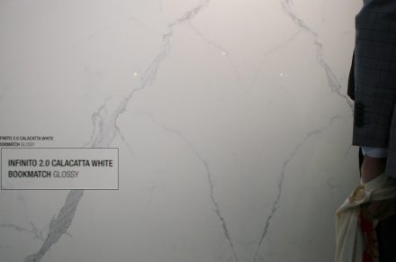 """Infinito 2.0"" is the name Fondavalle producer of engineered stone has given to its collection. One of the products is ""Calacatta White"" (Cersaie trade fair 2017)."