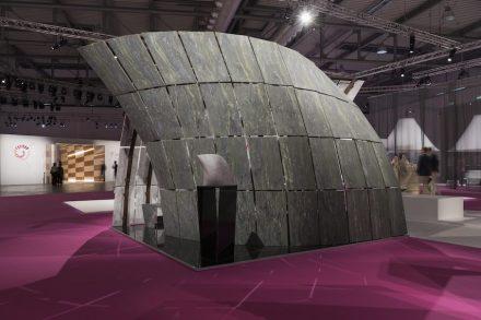 """Embrace"". Studio: Craig Copeland; company: Lavagnoli Marmi; marble supplier: Ca' D'Oro; material: Bianco Carrara, Verde Picasso, Fantastic Black."