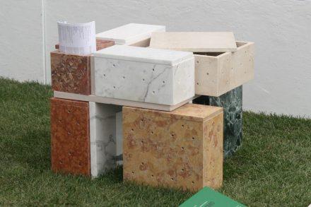 """Binomial Cube"". Students: Livia Angeli, Elena de Luca, Nicoletta Horochowski. Companies: Ionia Pietre Naturali, Essegi Marmi, Ganmar. ""La Sapienza"" University, Rome Department of Civil, Building and Environmental Engineering."
