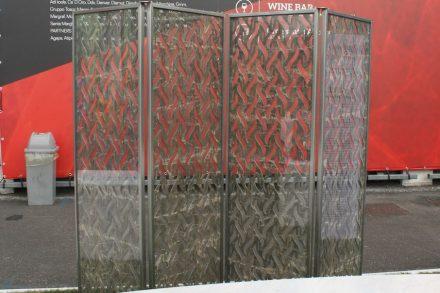 """""""TRA-Ma (trafori di marmo)"""". Design: Giuseppe Fallacara, Micaela Coella, New Fundamentals Research Group. Company: Manzi Marmi. Material: Marmo Ambrato, Glass, Stainless steel. Bari Polytechnic University, Dicar."""