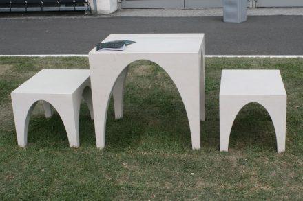 """Sitzbrücke"". Designer: Simone Boldrin. Company: M&R di Masuttti & Rusalen, General Marmi. Material: Biancone A74 di Apricena. ""G. D'Annunzio"" University Chieti-Pescara, Department of Architecture, Pescara."