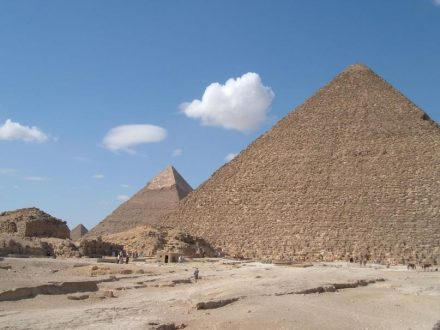"A view of the Giza Pyramids from the east with the Great ""Cheops""-Pyramid in the foreground. Source: Giulio Magli"