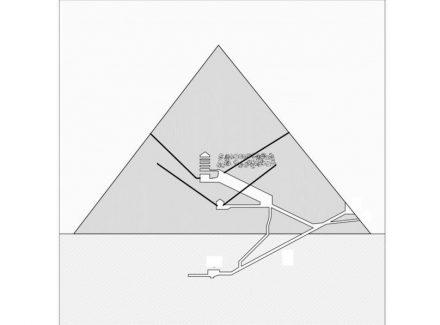 """Schnitt in Nord-Süd-Richtung durch die Cheops-Pyramide. Der angebliche """"Große Hohlraum"""" ist wolkig gekennzeichnet. Quelle: Giulio Magli"""