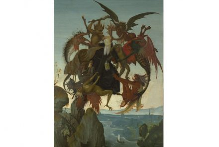 """The Torment of Saint Anthony"", Michelangelo's earliest painting, ca. 1487–88. Tempera and oil on wood. Kimbell Art Museum, Fort Worth."