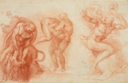 """Three Labours of Hercules"", Michelangelo, 1530–33.  Drawing, red chalk. Royal Collection Trust / © Her Majesty Queen Elizabeth II."