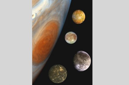 "The photomontage shows pictures taken by the ""Galileo"" spacecraft in the correct size-relation to Jupiter, though, in reality their orbits are much farther apart. Source: NASA/JPL/DLR / Wikimedia Commons"