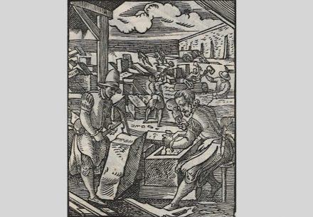 Steinmetze während der Arbeit, Ständebuch 1568. Quelle: Deutsche Fotothek / Wikimedia Commons