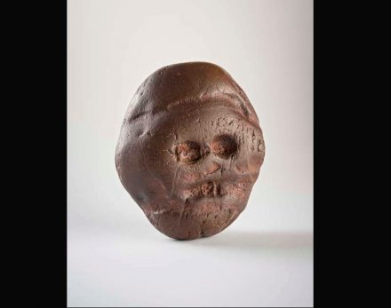 Artist Unknown:, Makapansgat Pebble, ca. 2.5 million years, Jasperite, 3 x 2 1/2 in. (7.6 x 6.3 cm), University of Witwatersrand, Johannesburg, South Africa. Photo: Brett Eloff / Nasher Sculpture Museum