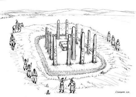 Illustration of a ritual conducted around the monument (drawn by former director of the National Museum of Mongolian History).