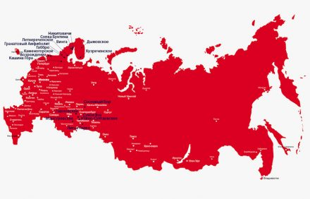 The map shows the most important granite clusters in Russia: Karelia in the Northwest and Caucasus/Ural in the Southwest.