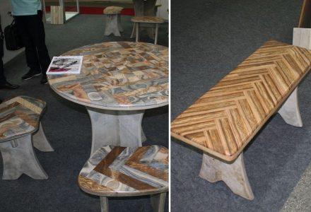 Tisch aus dem Kalkstein Pedra Cairi und Bänke dazu.