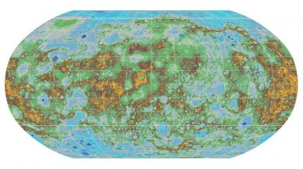 The United States Geologic Survey released this topographic map of Mercury in 2016. The highest elevations are colored red, and the lowest dark blue. Source: USGS
