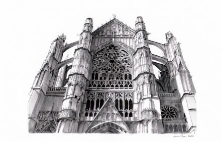 Lorenzo Concas sketches old cathedrals and other famous buildings.