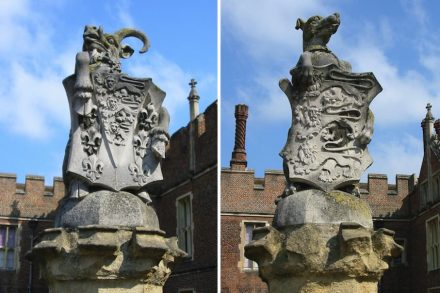 Die King's Beasts vor dem Hampton Court Palace. Fotos: Man vyi / Wikimedia Commons
