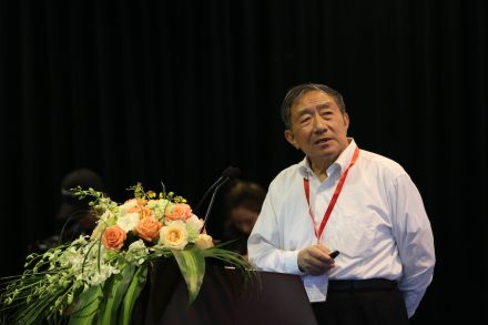 Zou Chuansheng giving his presentation at the World Stone Congress during the Xiamen Stone Fair 2018.