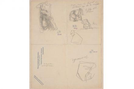 Auguste Rodin, die Skizzen zeigen die Figur K vom östlichen Parthenon und eine Metope vom der südlichen Seite, 20. Februar 1905. Grafit auf Papier. © Musée Rodin