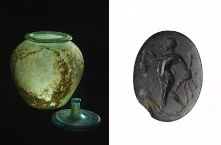 Left: Glass container with lid, discovered in Southwark. Right: Intaglio discovered within Roman sarcophagus.