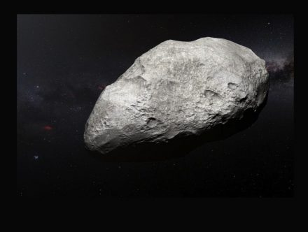 This artist's impression shows the exiled asteroid 2004 EW95. Source: ESO/M. Kornmesser